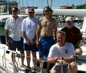 Crew of Enchant; (L to R) Dale Humbert, Mike Sturgeon, Andrew Humbert, David Grove, Larry Woiderski